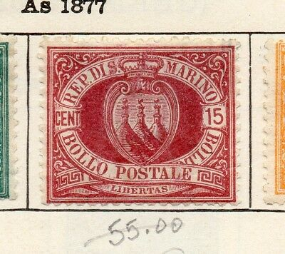 San Marino 1892 Early Issue Fine Mint Hinged 15c. 253955