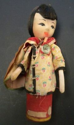 Antique Vintage Asian Doll  Soiled With Age