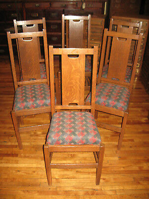 Set/6 Mission Oak H Back Dining Chairs Gustav Stickley Atribution Arts & Crafts