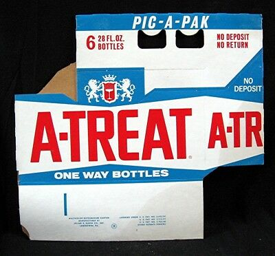 Old A-Treat 28 oz Soda Pop Bottle 6 Pack Carrier Carton Unused Old Store Stock