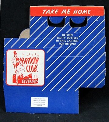Old Harmony Club Soda Pop Bottle 6 Pack Carrier Carton Unused Old Store Stock