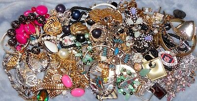 Huge Vintage - Now JUNK DRAWER Jewelry Lot Estate Harvest Craft Untested LBS Jf