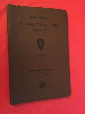 "x 1934 Plymouth ""de Luxe 'PE' Model"" Car Owner's Manual (French Text)"