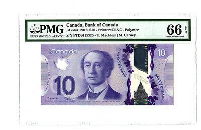 2013 $10 BANK OF CANADA PMG 66 EPQ BC-70a BANKNOTE MACKLEM CARNEY GEM UNC