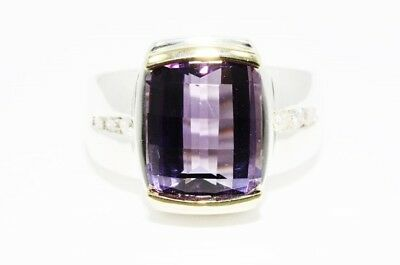 $900 8.92Ct Natural Amethyst & White Diamond Cocktail Ring Silver & 14K Gold