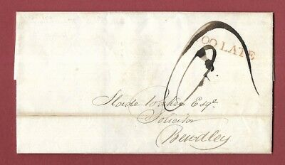 1832 Entire - Birmingham To Bewdley - 'too Late' - Well Struck Postmark.