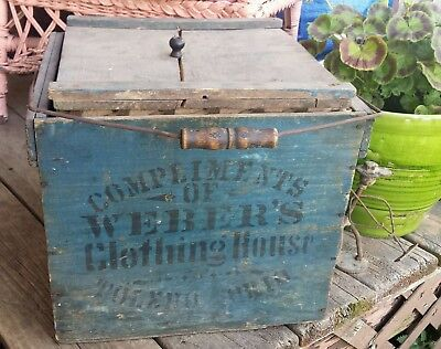 Antique Reliable Egg Crate Wood Carrier & Lid Toledo Ohio CLOTHING Advertising