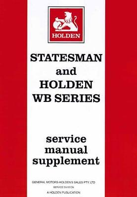 Holden Statesman WB & Commercial 1980 - 1985 Factory Service Manual Supplement