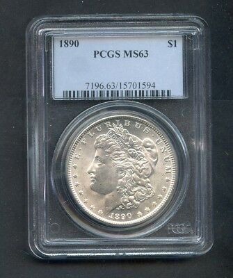 1890 Morgan Silver Dollar $1 PCGS MS63