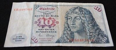 1980 German Federal Republic 10 Mark Bank Note in VG Condition Nice Old Note!