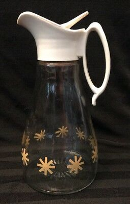 Vintage Log Cabin Syrup Pitcher Gold Star Clear Glass Container Jar