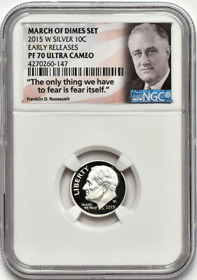 2015 W Roosevelt Dime from March of Dimes Set NGC PF70 Ultra Cameo Early Release