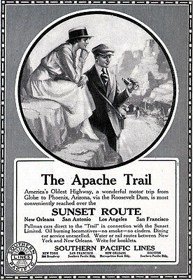 Apache Trail Sunset Route SOUTHERN PACIFIC LINES Railway Tourism 1917 Print Ad