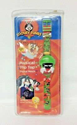 Vintage Marvin the Martian Looney Tunes Armitron Musical Flip Top Watch - NEW