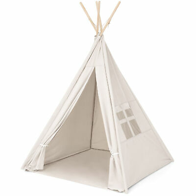 6ft White Teepee Tent Kids Canvas Playhouse Sleeping Dome w/ Carrying Bag White