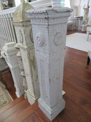 The Best Old Architectural Newel Post Column Chippy White Flat Top