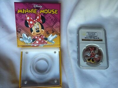 DISNEY 2014 Niue $2 1oz Silver Coin MINNIE MOUSE Colorized NGC PF70 Ultra Cameo