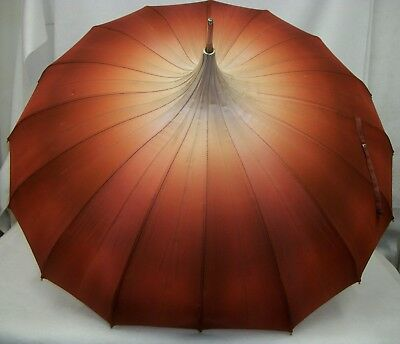 Vintage Umbrella Parasol Peach to Rust Ombré with Hard Plastic Crook Handle