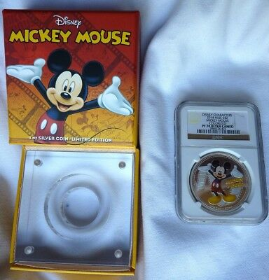 DISNEY 2014 Niue $2 1oz Silver Coin MICKIE MOUSE Colorized NGC PF70 Ultra Cameo
