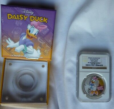 DISNEY 2014 Niue $2 1 oz Silver Coin DAISY DUCK Colorized NGC PF70 Ultra Cameo