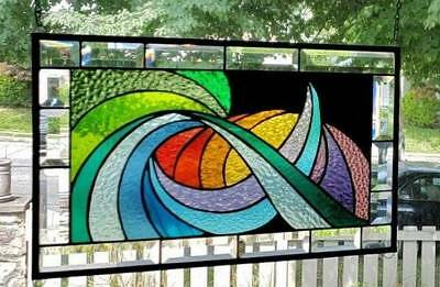 **HARMONIOUS CURRENTS** Stained Glass Window Panel (Signed and Dated)