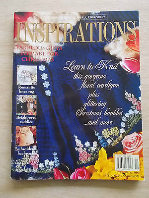 Inspirations #12~Embroidery Projects~Teddy Bears~Backpack~Knit~Xmas Sampler~Rug