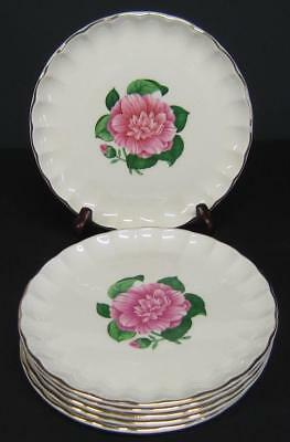 "Lot of 6 Camellia Bread/Dessert/Side Plates 6-1/2"" W.S. George Pink Flowers gold"