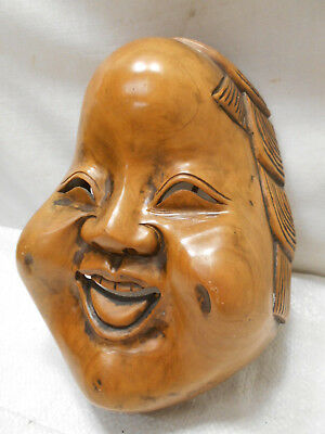 Vintage Mask Wooden Japanese Seven Lucky God Hotei Hand Made Display #192