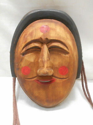 Vintage Mask Wooden Japanese Ainu People Hand Made Display #194