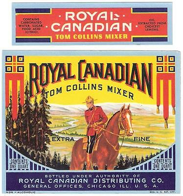 Royal Canadian Tom Collins Soda Bottle & Neck Label Chicago, Illinois
