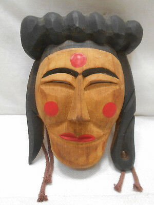 Vintage Mask Wooden Japanese Ainu People Hand Made Display #195
