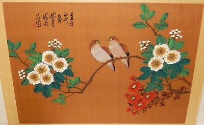 Chinese Two Brown Birds On Flowers Original Watercolor Silk Painting Signed