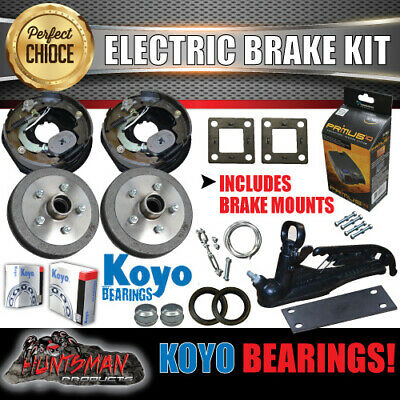 "10"" Trailer Electric Brake & Coupling Kit & IQ Controller Koyo bearings. Caravan"