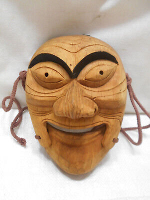 Vintage Mask Wooden Japanese Tribal Hand Made Hinged Mouth Display #198