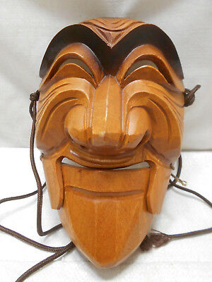 Vintage Mask Wooden Japanese Tribal Hand Made Hinged Mouth Display #199