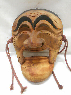 Vintage Mask Wooden Japanese Tribal Hand Made Hinged Mouth Display #200