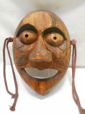 Vintage Mask Wooden Japanese Tribal Hand Made Display #202