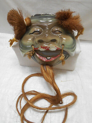 Japanese Glazed Ceramic Vintage Theatrical Mask Hand Made Unique #208