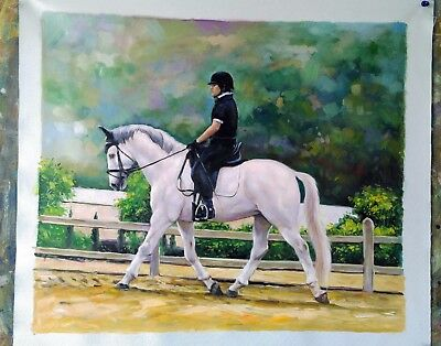 Hand Painted Commission Horse-racing Oil Painting Custom Horse Portrait Art