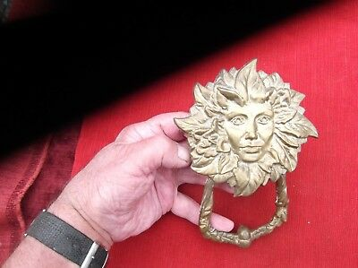 Vintage Very Heavy & Large Brass Sunflower Face Door Knocker/antique Brass