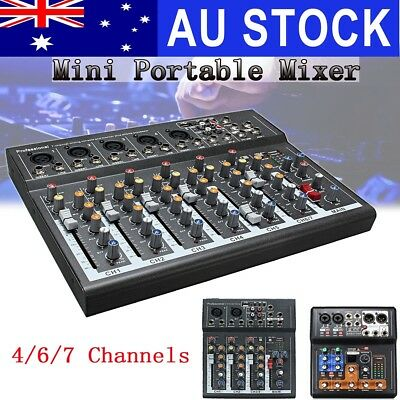 Professional 4/6/7 Channel Live Studio Audio Sound Mixer USB Mixing DJ Console