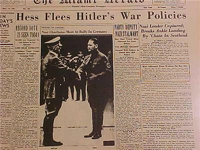 Vintage Newspaper Headline~World War Nazi Hess Flees Adolf Hitler Policies Wwii