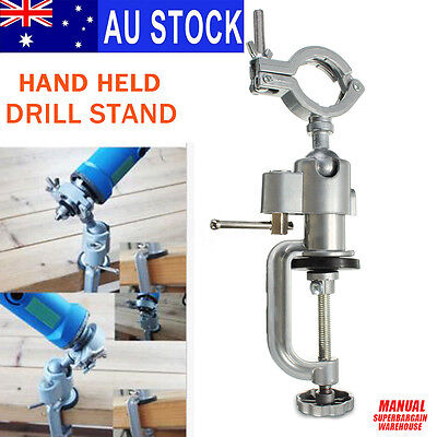 AU 360° Clamp-on Grinder Holder Bench Vise For Electric Drill Stand Rotary 240mm
