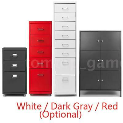 3/5/8 Drawer Metal Home Office Filing Cabinet File Storage Steel W/ Castors T0J3