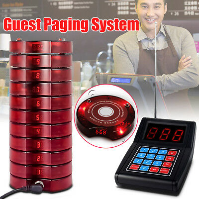 AU 10 Restaurant Coaster Pager Guest Wireless Paging Queuing System+ Transmitter