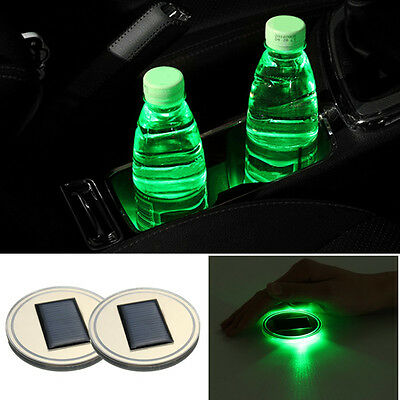2/3Pcs 3 Type Color Solar Cup Holder Bottom Car Pad Mat Light Trim For All Cars