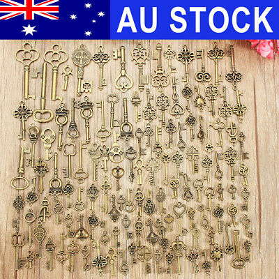 AU 125Pcs Bronze Keys Vintage Royal Antique Old Look Skeleton Heart Bow Pendant