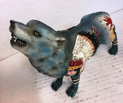 "6.25""L Trabal Face Chief Howling Wolf w Full Moon Totem Spirit Figurine Statue"