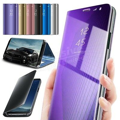 For Samsung Galaxy S7 S8 S9 Plus Smart View Mirror Leather Case Flip Stand Cover