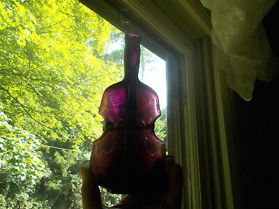 Beautiful Deep Puce Amethyst Pontiled Violin Figural Bottle With Wall Hanger